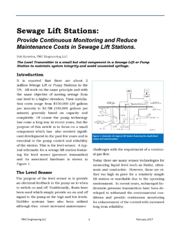 Sewage Lift Stations: Provide Continuous Monitoring and Reduce Maintenance Costs